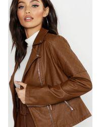 Boohoo - Faux Leather Biker Jacket - Lyst