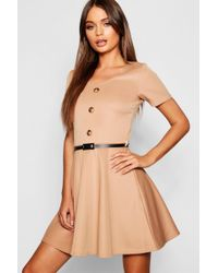 Boohoo - Short Sleeve Button Front Belted Skater Dress - Lyst