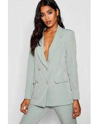 Boohoo - Double Breasted Boxy Military Blazer - Lyst
