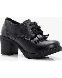 Boohoo Girls Chunky Lace Up School Shoe In Black Lyst