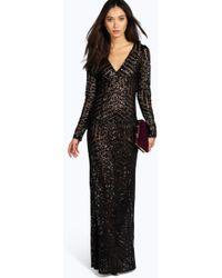 d425300ae48 Boohoo - Boutique Mia Sequin   Mesh Plunge Neck Maxi Dress - Lyst