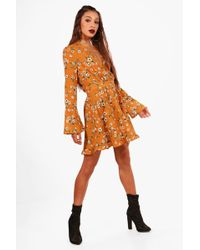 Boohoo | Skyla Floral V Neck Flared Sleeve Swing Dress | Lyst