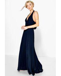Boohoo - Chiffon Pleated Plunge Maxi Dress - Lyst