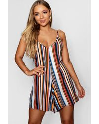 71e4d778c1 Lyst - Boohoo Strappy Back Swing Playsuit in Black