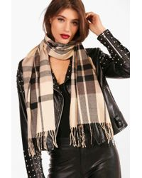 Boohoo - Check Woven Scarf - Lyst