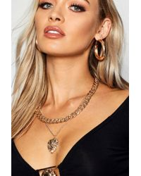 Boohoo - Chunky Chain & Lion Layered Necklace - Lyst