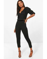 Boohoo - Niamh Wrap Rouche Top & Trouser Co-ord Set - Lyst