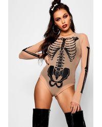 Boohoo - Halloween Skeleton Mesh Bodysuit - Lyst