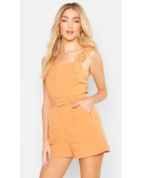 Boohoo - Linen Belted Buckle Strap Playsuit - Lyst