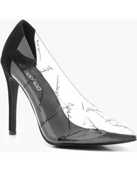 977f90f82634 Boohoo Clear Block Heel Court Shoes in Black - Lyst