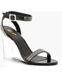Boohoo - Diamante Strap Clear Wedges - Lyst