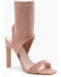 Boohoo - Lacey Square Toe Sock Heels - Lyst