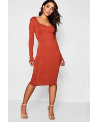 5104c93b Boohoo - Square Neck Long Sleeved Bodycon Dress - Lyst