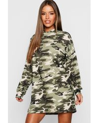 Boohoo - Petite Camo Hooded Dress - Lyst