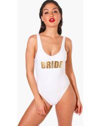 5b406098c8fe6 Boohoo Lifeguard Off Duty Slogan Scoop Swimsuit in Red - Lyst