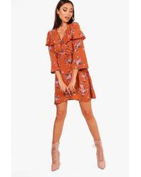 Boohoo - Floral Angel Sleeve Woven Tea Dress - Lyst