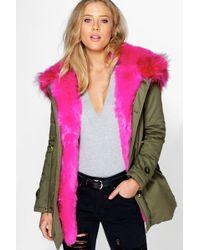 Boohoo - Boutique Maria Faux Fur Trim Parka - Lyst