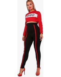 Boohoo - Plus Lucy Jersey Sports Trim Leggings - Lyst