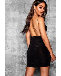 Boohoo - Slinky Scooped Back Ruched Detail Bodycon - Lyst
