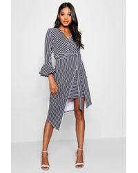 Boohoo - Asymmetric Stripe Belted Midi Dress - Lyst