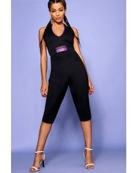 Boohoo - Halter Neck Badge Unitard - Lyst