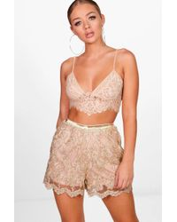 Boohoo - All Over Embroidered Shorts - Lyst