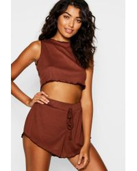 Boohoo - Ribbed Crop Lounge Short Set - Lyst