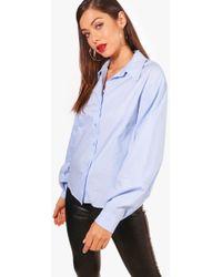 Boohoo   Isla Balloon Sleeve Cotton Shirt   Lyst