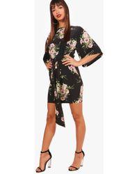Boohoo - Wendy Tie Waist Kimono Sleeve Shift Dress - Lyst