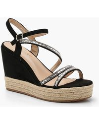 Boohoo - Embellished Strappy Wedges - Lyst