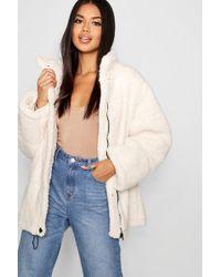Boohoo - Oversized Fleece Puffer Jacket - Lyst