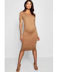 Boohoo - Maternity Short Sleeve Midi Dress - Lyst