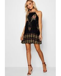 Boohoo - Nadia Placement Print Tassel Shift Dress - Lyst