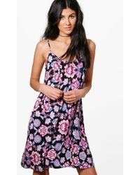Boohoo Floral Ruffle Strap Skater Dress in Purple - Lyst 48a799f7a
