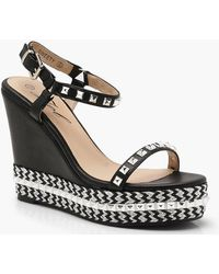 Boohoo - Studded And Plaited Wedges - Lyst