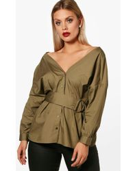 Boohoo - Plus Off The Shoulder Belted Shirt - Lyst