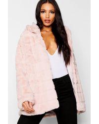 Boohoo - Hooded Panelled Faux Fur Coat - Lyst