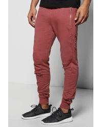 Boohoo Skinny Fit Distressed Sweatpants With Zip Pockets