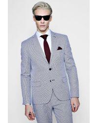 Boohoo - Mini Check Skinny Fit Suit Jacket - Lyst