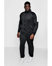 Boohoo - Big And Tall Skinny Fit Panel Tricot Tracksuit - Lyst