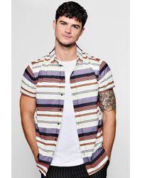 Boohoo - Horizontal Stripe Crepe Short Sleeve Shirt - Lyst
