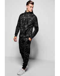 Boohoo - Skinny Fit Camo Hooded Tracksuit - Lyst