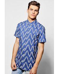 Boohoo - Horizontal Zig Zag Print Short Sleeve Shirt - Lyst
