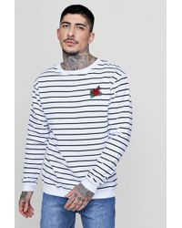 Boohoo - Stripe Print With Rose Embroidery Jumper - Lyst