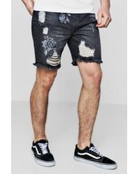 Boohoo - Bermuda Denim Shorts With Rose Embroidery - Lyst