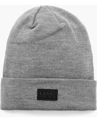 Boohoo - Turn Up Rubber Man Patch Beanie - Lyst