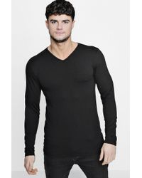 Boohoo - Long Sleeve V-neck T-shirt In Muscle Fit - Lyst