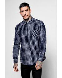 Boohoo - Navy Long Sleeve Window Pane Check Shirt - Lyst