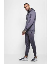 Boohoo - Ribbed Panel Zip Hooded Tracksuit - Lyst