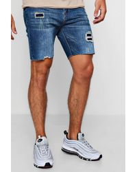 Boohoo - Slim Fit Denim Shorts With Patchwork Distressing - Lyst